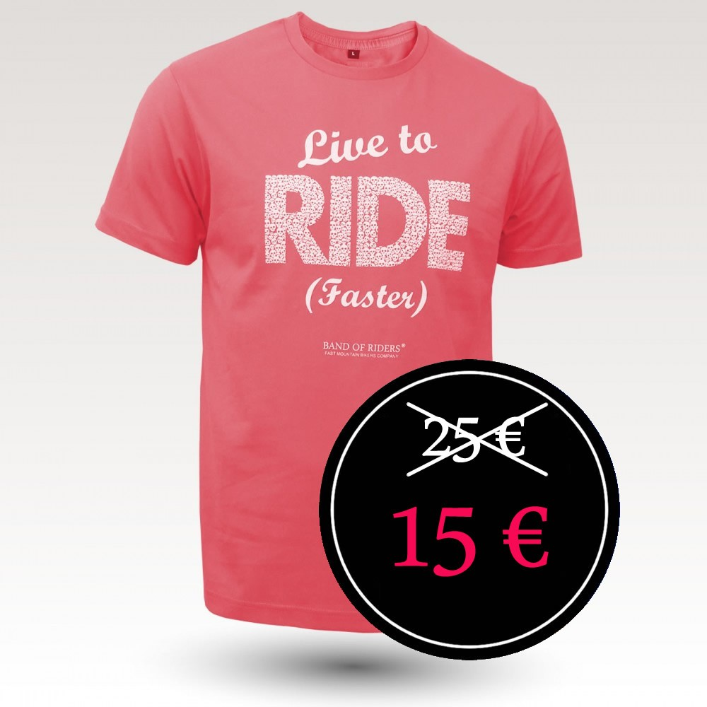 Tee-shirt coton VTT : Band of Riders Alive Framboise (Live to Ride Faster)