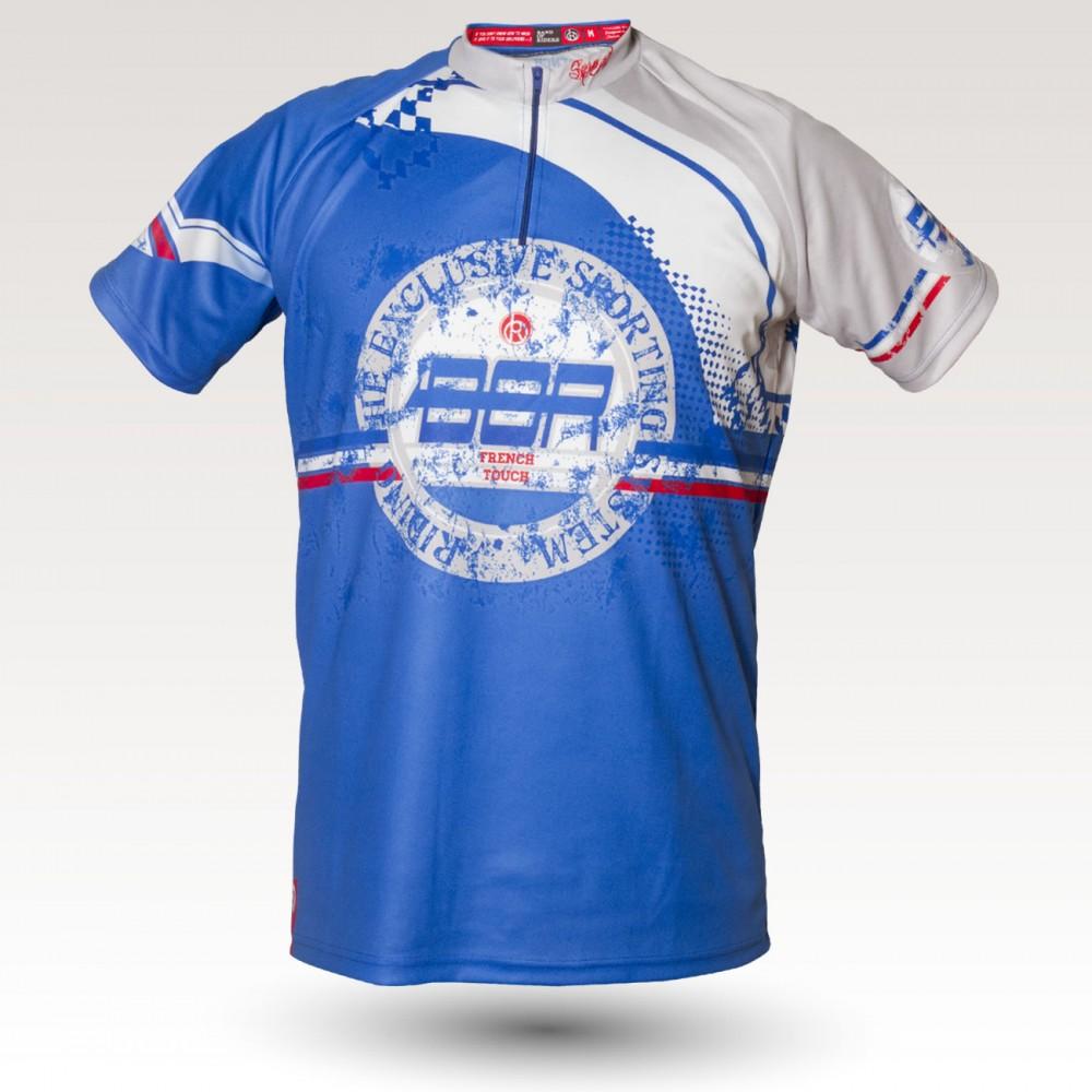 Maillot Speed, maillot VTT rando original à manches courtes sublimé avec zip et poche, maillot fibre technique, coupe ultra confort VTT