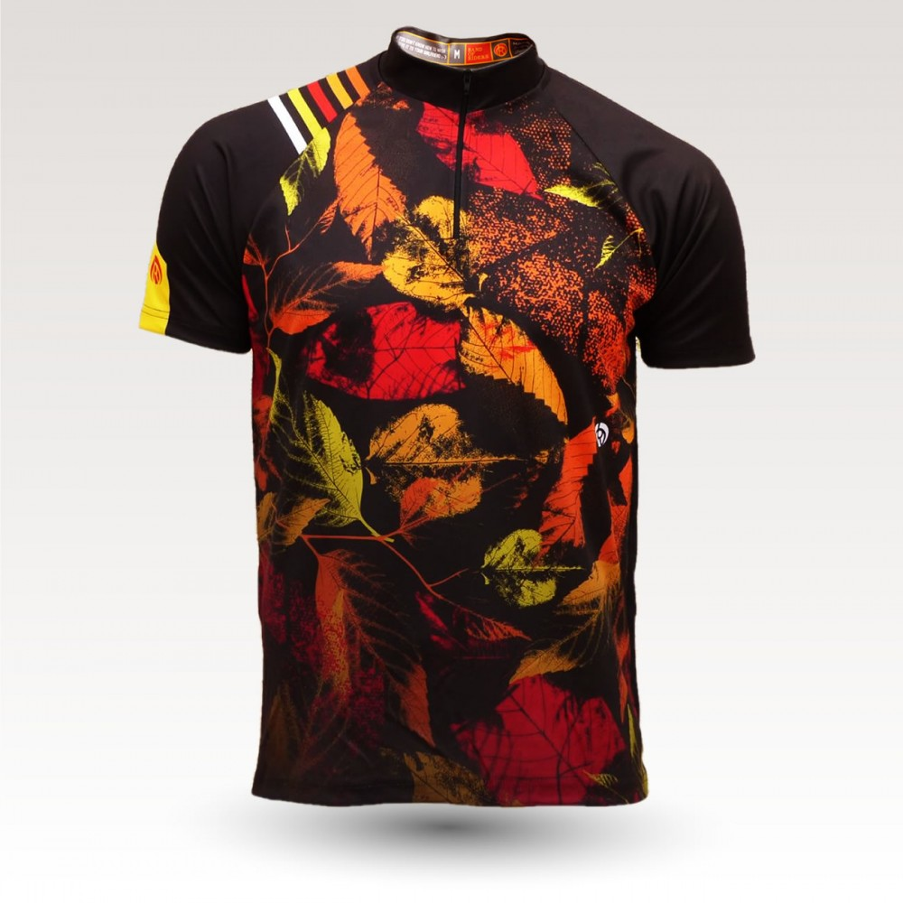 short sleeves original MTB downhill DH jersey, technical fabric jersey, most confortable MTB jersey,  leaves orange
