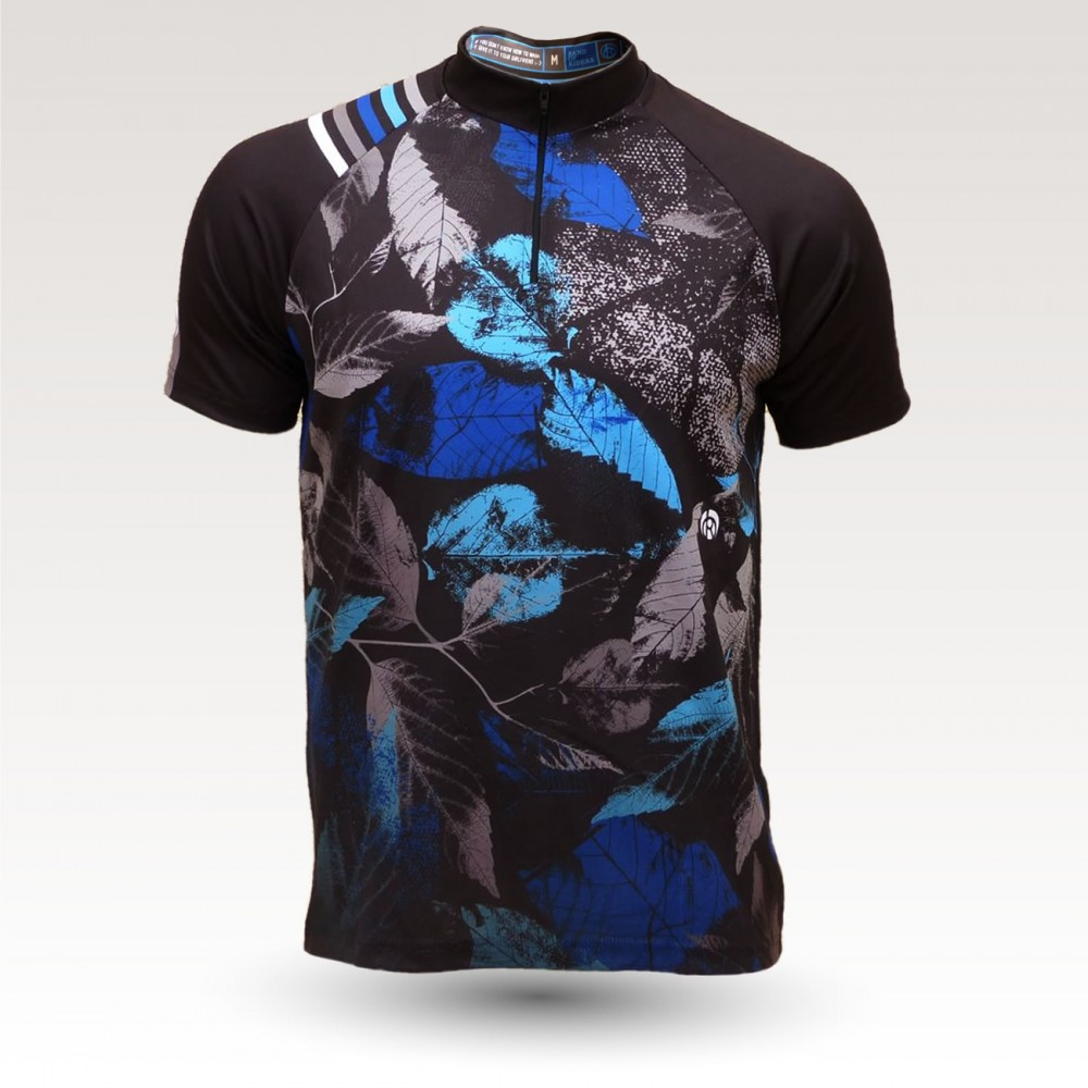 short sleeves original MTB downhill DH jersey, technical fabric jersey, most confortable MTB jersey,  leaves blue