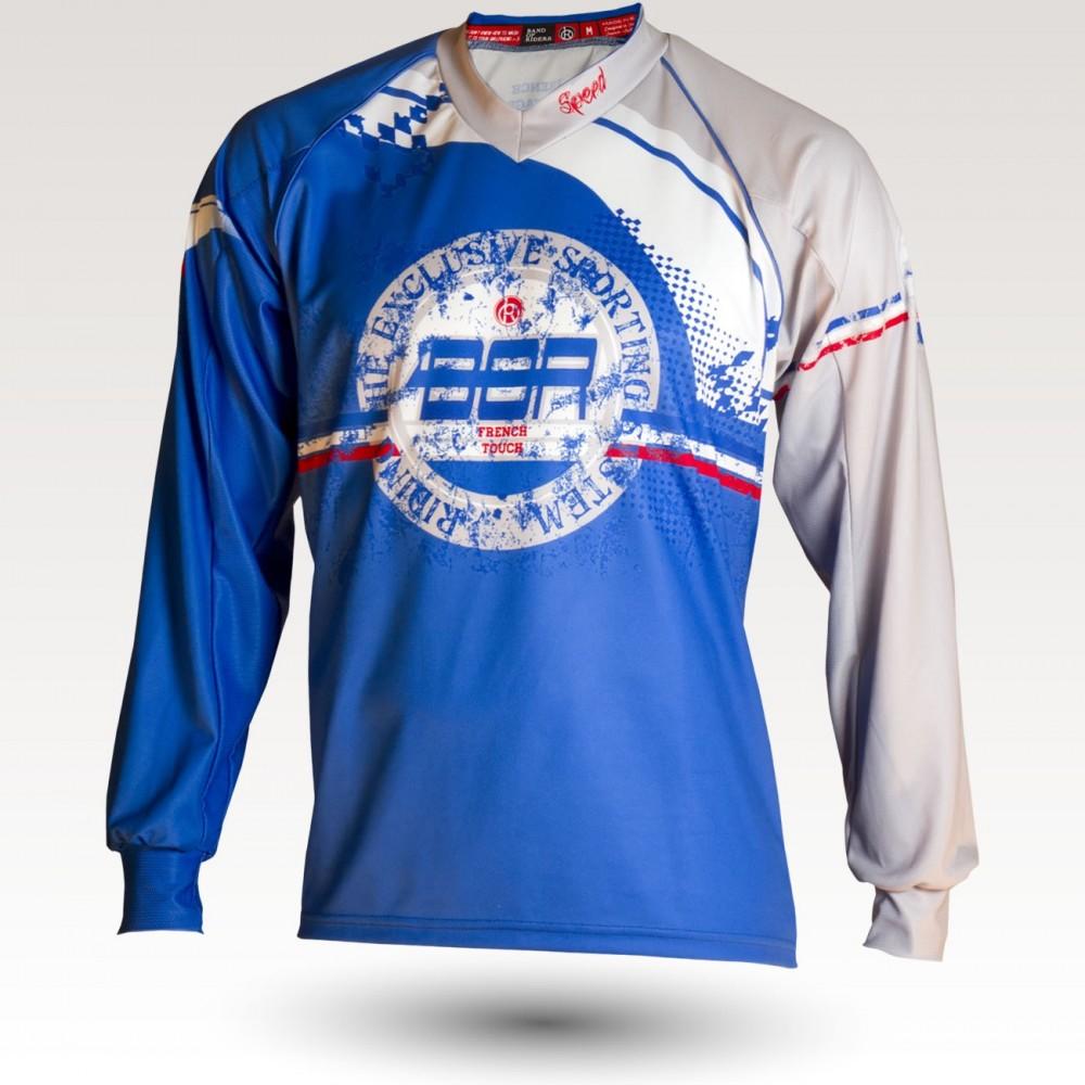 Maillot Speed, maillot VTT enduro dh original à manches longues sublimé, maillot fibre technique bi-matière, coupe ample ultra confort adaptée au port des protections