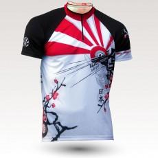 Maillot Japan, maillot VTT rando original à manches courtes sublimé avec zip et poche, maillot fibre technique, coupe ultra confort VTT