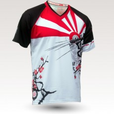 Maillot Japan MC, maillot VTT enduor dh original à manches courtes sublimé, maillot fibre technique, coupe ultra confort VTT