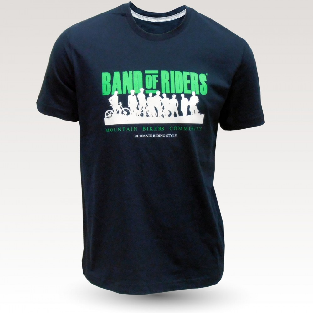 Tee-shirt coton VTT : Band of Riders Normandy Navy and green