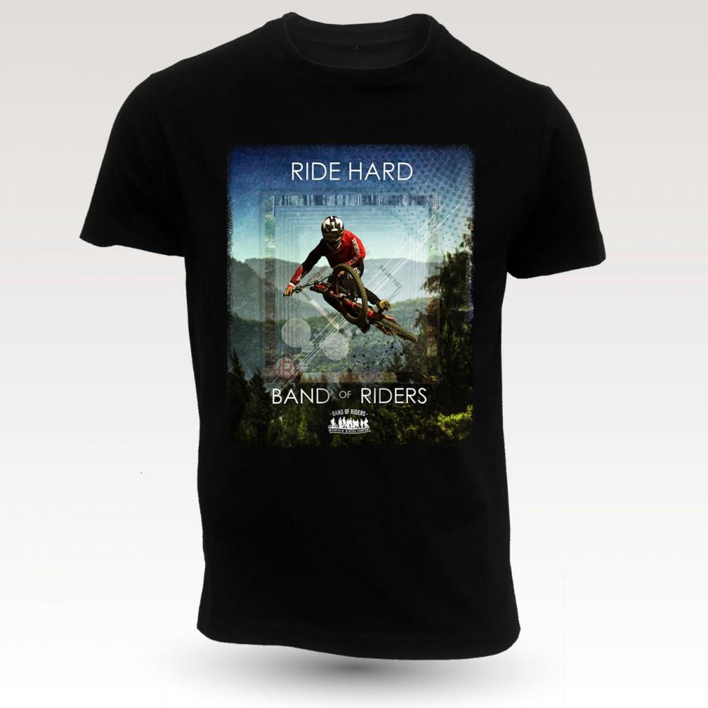 Tee-shirt coton VTT : gaetan black Band of Riders