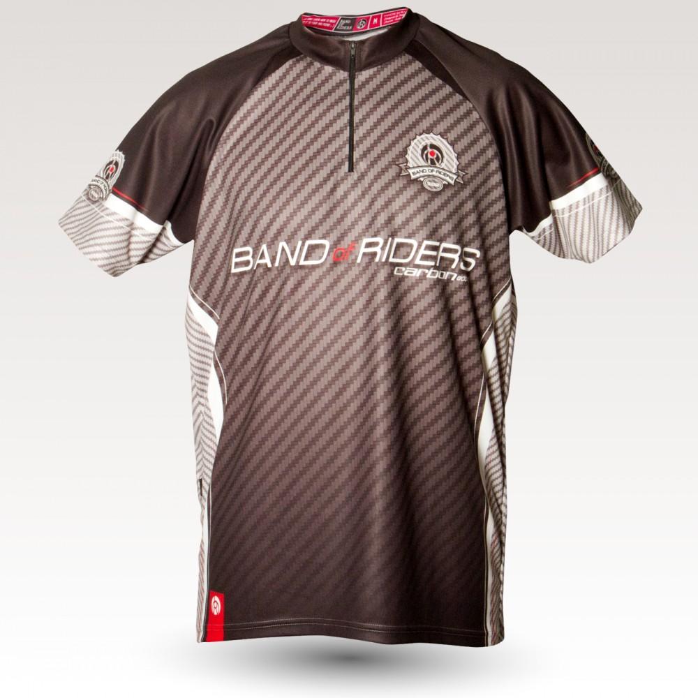 Maillot Carbon, maillot VTT rando original à manches courtes sublimé avec zip et poche, maillot fibre technique, coupe ultra confort VTT