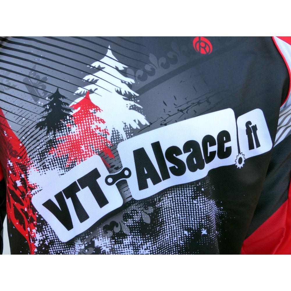 Maillot vtt alsace MC, maillot VTT enduro dh original à manches longues sublimé, maillot fibre technique bi-matière, coupe ample ultra confort adaptée au port des protections