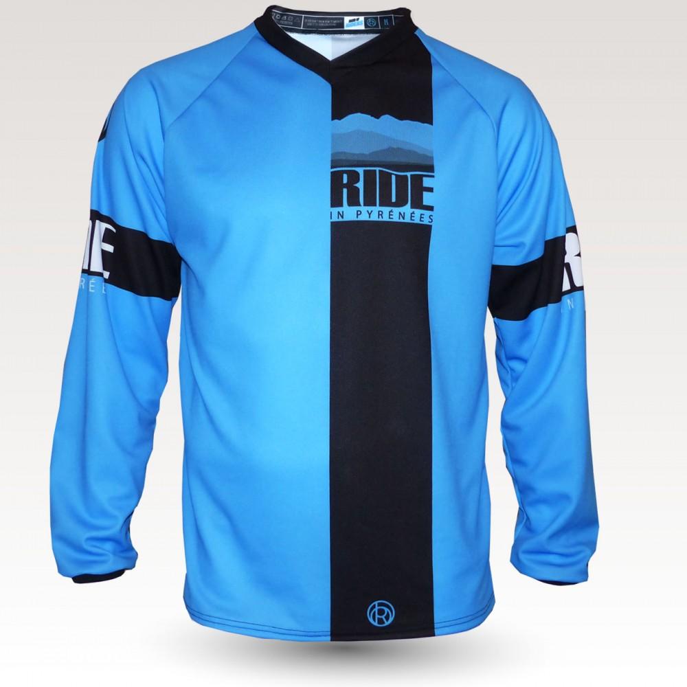 Maillot Ride in Pyrénées bleu, maillot VTT enduro dh original à manches longues sublimé, maillot fibre technique bi-matière, coupe ample ultra confort adaptée au port des protections