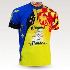 Maillot VTT flandres, nord, belgique, chti, maillot VTT enduro dh original à manches courtes sublimé, maillot fibre technique, coupe ultra confort VTT