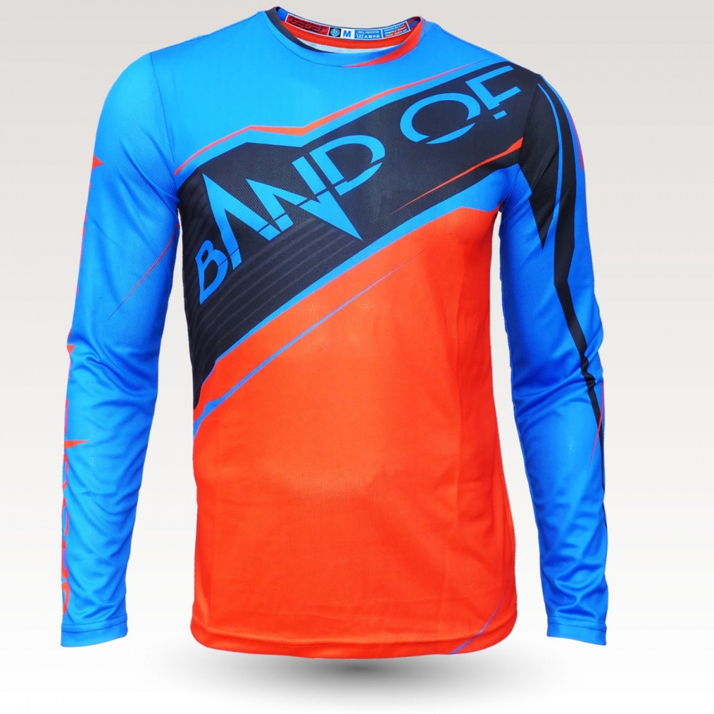 Maillot VTT bob ML, maillot VTT rando original à manches longues, maillot fibre technique, coupe fittee VTT, Black orange Blue
