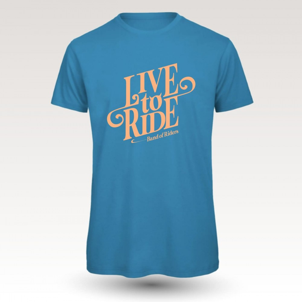 MTB Coton Tee-shirt : Band of Riders live to ride blue