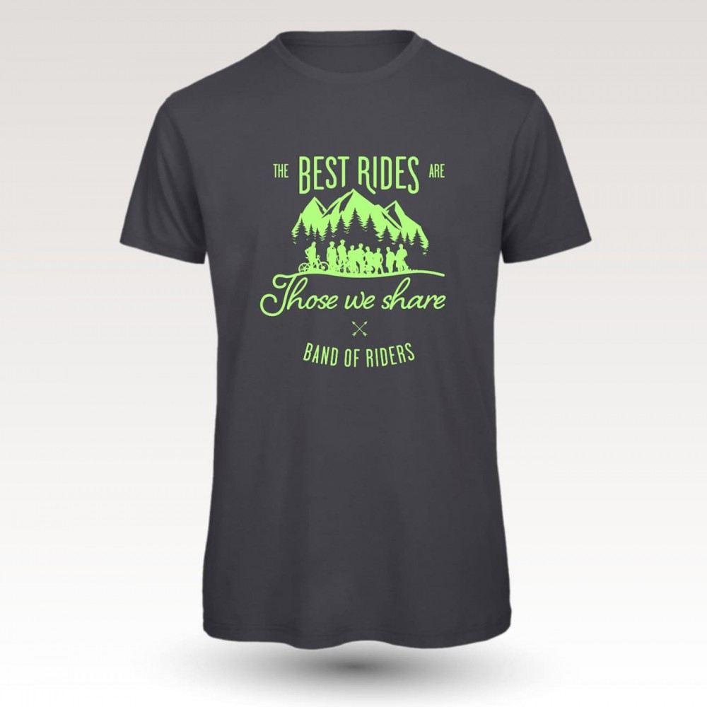 Tee-shirt coton VTT : Band of Riders best rides dgrey