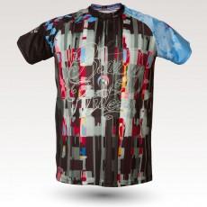 Maillot Psyché, maillot VTT rando original à manches courtes sublimé avec zip et poche, maillot fibre technique, coupe ultra confort VTT
