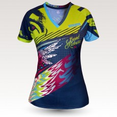 Maillot femme Birdy MC, maillot VTT femme original à manches courtes sublimé, maillot fibre technique, coupe ultra confort VTT