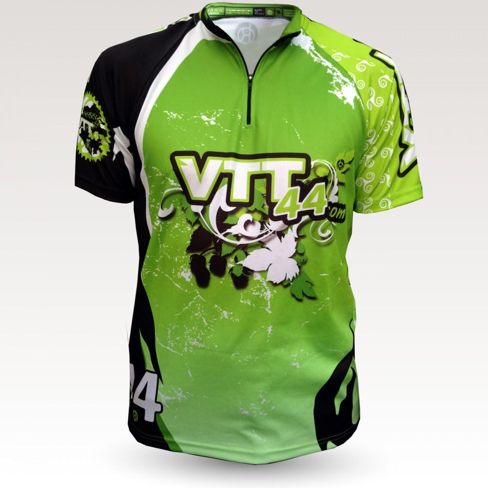 Maillot all mountain MC vtt44 nantes, maillot VTT all mountain original à manches longues sublimé, maillot fibre technique bi-matière, coupe ample ultra confort adaptée au port des protections