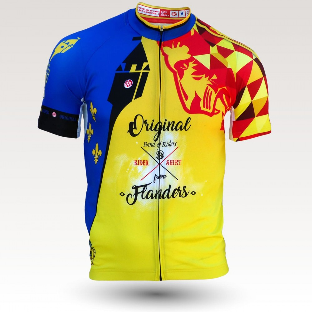 flanders jersey, short sleeves original cycling jersey, technical fabric jersey, most confortable cyclist  jersey